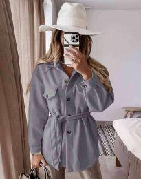 Дамско палто с копчета и колан в сиво - код 6398