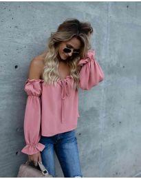 Блуза с лодка деколте в цвят праскова - код 5574