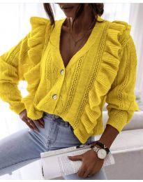 Къса дамска жилетка в цвят горчица - код 0305