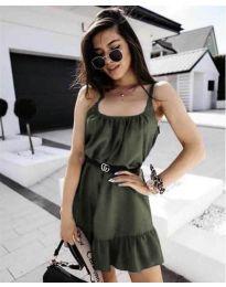 Изчистена рокля в маслено  зелено - код 7768