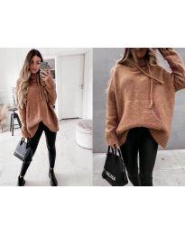 Дамски пуловер в кафяво - код 7333