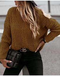 Дамски пуловер в кафяво - код 407