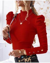 Дамска блуза с поло яка в червено - код 1489