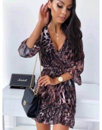 Дамска рокля с ефектен десен - код 7677 - 1