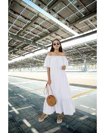 Дълга рокля в бял цвят - код 3636
