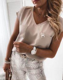 Атрактивна дамска блуза в бежово - код 6306