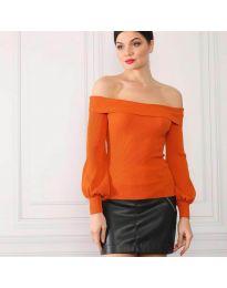 Дамска блуза с лодка деколте в оранжево - код 0247