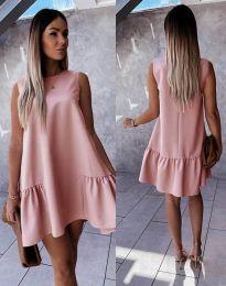 Свободна дамска рокля в цвят пудра - код 3456