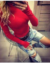 Дамска блуза с поло яка в червено - код 5256