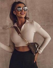 Къса дамска блуза в цвят капучино - код 45211