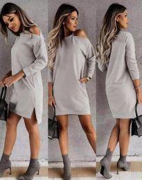 Дамска рокля  в сиво - код 8858