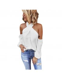 Стилна блуза с ефектни ръкави в бяло - код 6568