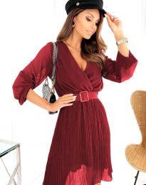 Атрактивна дамска рокля в цвят бордо - код 3497