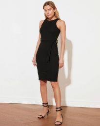 Дамска рокля с колан в черно - код 12950