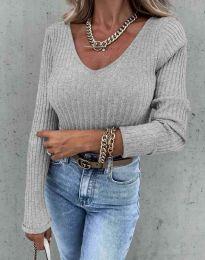 Стилна дамска блуза в сиво - код 5918