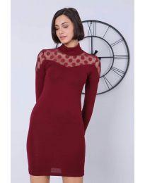 Дамска рокля по тялото в бордо - код 6099