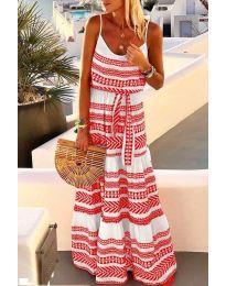Дълга рокля с атрактивен десен в червен цвят - код 621