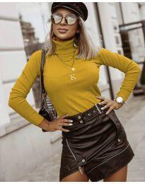 Дамска блуза с поло яка в цвят горчица - код 8861
