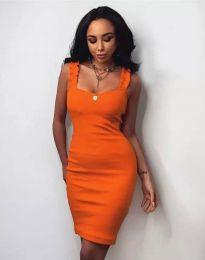 Дамска рокля по тялото в оранжево - код 0229