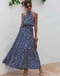 Дълга рокля в тъмносиньо с атрактивен десен - 6214 - 6