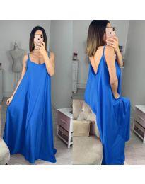 Свободна дълга рокля в тъмно синьо - код 6600