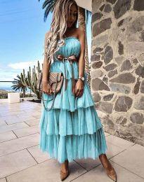 Ефирна дамска рокля с панделка в цвят тюркоаз - код 1543
