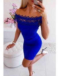 Рокля в син цвят с дантелено деколте - код 3105