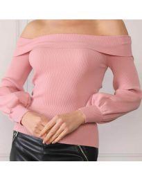 Дамска блуза с лодка деколте в цвят пудра - код 0247