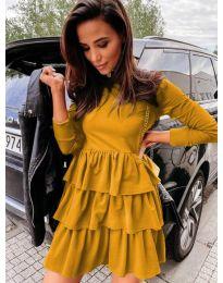 Свободна дамска рокля в цвят горчица - код 3109