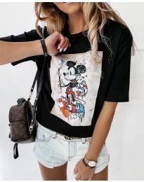 Дамска тениска в черно с ефектен принт - код 569