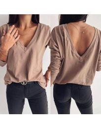Блуза в тъмно бежово с V-образно деколте и гръб - код 3376