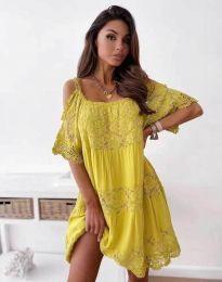 Атрактивна рокля в жълто с дантела - код 6954