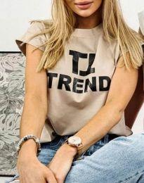 Дамска тениска в цвят капучино с принт - код 2510