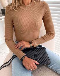 Блуза с поло яка в цвят капучино - код 0688