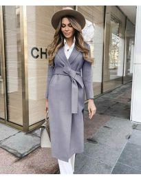 Дълго дамско палто с колан в сиво- код 4941