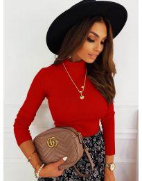 Дамска блуза с поло яка в червено - код 7071