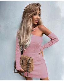 Елегантна рокля в цвят пудра - код 4933