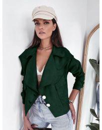 Дамско късо яке в маслено зелено - код 4748