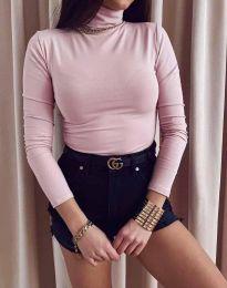 Дамска блуза с поло яка в розово - код 0410