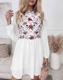 Стилна дамска рокля в бяло  - код 3482