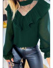 Зелена дамска блуза с интересно деколте - код 013