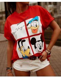 Тениска в червено с принт анимация - код 964