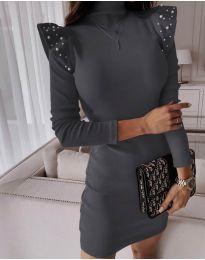 Елегантна рокля по тялото в тъмно сиво - код 9494