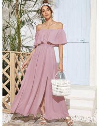 Дълга дамска рокля в розово - код 698