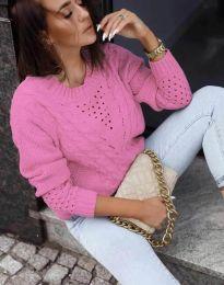 Плетен дамски пуловер в розово - код 1620