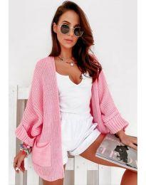Къса дамска жилетка в розово - код 6850