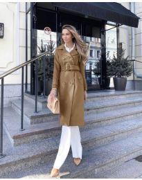 Дамско палто с колан в кафяво - код 213