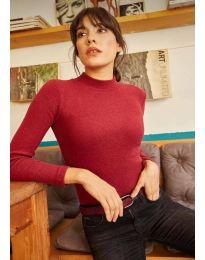 Изчистена дамска блуза в бордо - код 11499