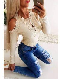 Елегантна дамска блуза с бродерии в бежово - код 3538