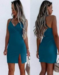 Елегантна дамска рокля в цвят тюркоаз - код 8979